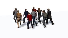 Groupe des hommes courant - illustration 3D illustration stock