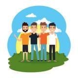 Groupe des hommes dans le camp illustration de vecteur