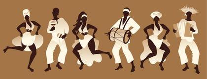Groupe des hommes et de femmes dansant et jouant la musique illustration stock