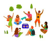 Groupe des jeunes, d'hommes et de femmes célébration, dansant, partie, jouant le refroidissement en parc illustration libre de droits
