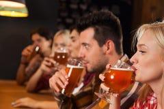 Groupe des jeunes dans la barre, verres de prise de bière de boissons, amis s'asseyant au bar en bois de Tableau Photo libre de droits