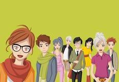 Groupe des jeunes de bande dessinée illustration stock