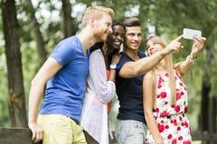 Groupe des jeunes et de couples prenant des selfies en nature Photo libre de droits