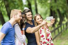 Groupe des jeunes et de couples prenant des selfies en nature Image stock