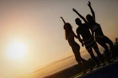Groupe des jeunes heureux appréciant le coucher du soleil d'été Photographie stock libre de droits