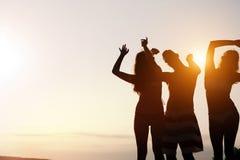 Groupe des jeunes heureux appréciant le coucher du soleil d'été Photographie stock
