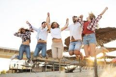 Groupe des jeunes heureux appréciant des vacances d'été Image libre de droits