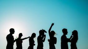 Groupe des jeunes heureux appr?ciant le coucher du soleil d'?t? photo libre de droits