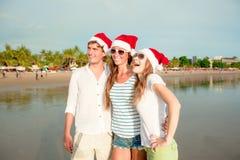 Groupe des jeunes heureux dans des chapeaux de christmass dessus Photo libre de droits