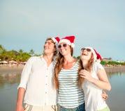 Groupe des jeunes heureux dans des chapeaux de christmass dessus Photo stock