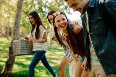 Groupe des jeunes sur le pique-nique au parc Image stock
