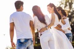 Groupe des jeunes tenant des mains sur la plage Photographie stock libre de droits