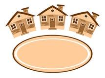 Groupe des maisons et d'un endroit pour le texte Image libre de droits