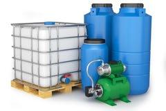 Groupe des réservoirs d'eau et de la station de pompage en plastique illustration libre de droits