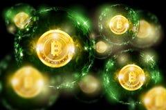 Groupe des sphères rondes avec le code binaire et de la pièce de monnaie mordue d'or au centre Fond horizontal de vert d'affaires illustration libre de droits