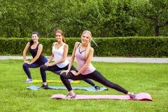 Groupe di belle giovani donne viscose in buona salute che fanno i exersices sull'erba verde nel parco, gambe streching, esaminant immagine stock libera da diritti