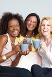 Groupe divers d'amis ayant le café et parler Images stock