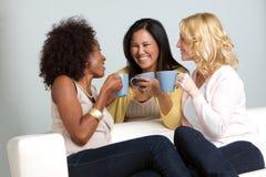 Groupe divers d'amis ayant le café et parler Photo libre de droits