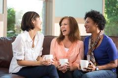 Groupe divers d'amis parlant et riant Image libre de droits