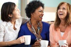 Groupe divers d'amis parlant et riant Photos libres de droits