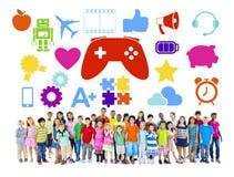 Groupe divers d'enfants avec des passe-temps illustration de vecteur