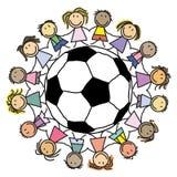 Groupe du football d'enfants - groupe des enfants s Photographie stock
