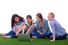 Groupe du jeune étudiant à l'aide de l'ordinateur portable ensemble Image libre de droits