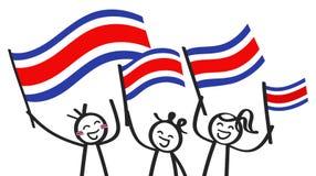 Groupe encourageant de trois chiffres heureux de bâton avec les drapeaux nationaux de Costa Rican, défenseurs de sourire de Costa illustration stock