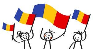 Groupe encourageant de trois chiffres heureux de bâton avec les drapeaux nationaux roumains, défenseurs de sourire de la Roumanie illustration libre de droits