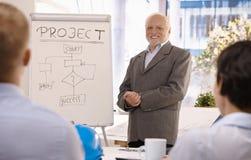 Groupe expérimenté de formation d'homme d'affaires dans le bureau Image libre de droits