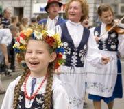 Groupe folklorique traditionnel de la Pologne Images libres de droits
