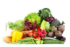 Groupe frais de légumes sur le fond blanc Photo libre de droits