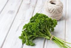 Groupe frais de parsleyand un écheveau de fil pour lier Photo libre de droits