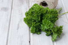 Groupe frais de parsleyand un écheveau de fil pour lier Photographie stock