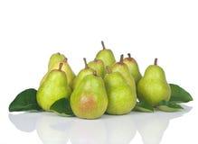 Groupe frais des poires onze photos stock