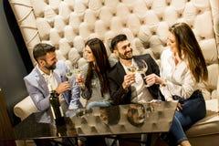 Groupe gai des jeunes grillant avec du vin blanc image libre de droits