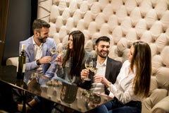 Groupe gai des jeunes grillant avec du vin blanc Photographie stock