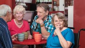 Groupe heureux d'aînés dans un Bistro Photographie stock libre de droits