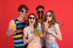 Groupe heureux d'amis buvant des cocktails Images libres de droits