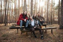 Groupe heureux d'amis s'asseyant dehors dans la forêt Photos stock