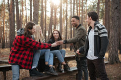 Groupe heureux d'amis s'asseyant dehors dans la forêt Image stock