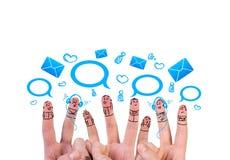 Groupe heureux de doigt Images stock