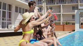 Groupe heureux de jeunes amis traînant avec des coctails et causant sur le côté de la piscine pendant l'été cheers clips vidéos