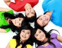 Groupe heureux de sourire d'amis Image stock