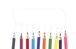 Groupe heureux de visages de crayon Photo libre de droits