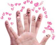 Groupe heureux de visages de doigt Photos libres de droits
