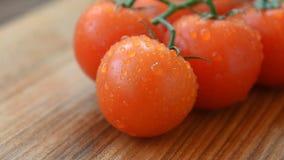 Groupe lavé frais de tomates-cerises du jardin banque de vidéos