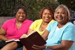 Groupe mûr de femmes parlant et lisant Image libre de droits