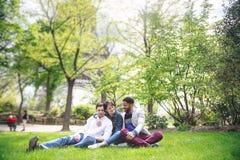 Groupe multi-ethnique d'amis ayant l'amusement dans le parc près d'Eiffel Photos stock