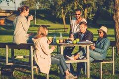 Groupe multi-ethnique d'amis buvant du café et causant en parc Photo stock